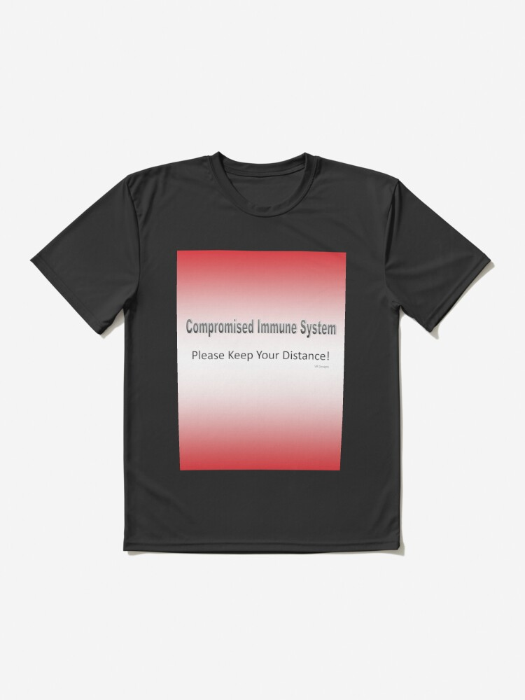 Alternate view of Text-Compromised Immune System in Red, Pink, Peach and White Active T-Shirt