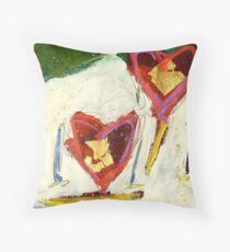 2 Hearts Skiing as 1 Throw Pillow