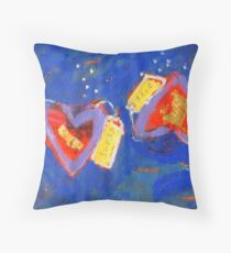 2 Hearts Diving as 1 Throw Pillow