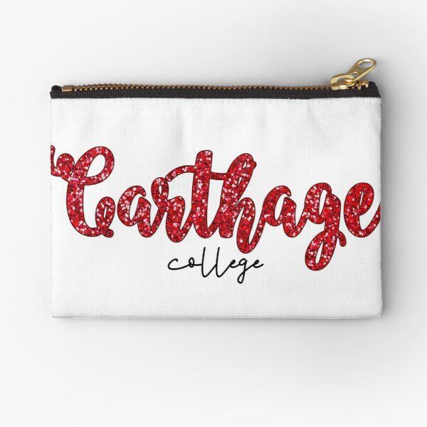 Carthage College Red Glitter Zipper Pouch