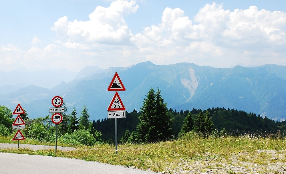 Road Signs at Top of Mountain by jojobob