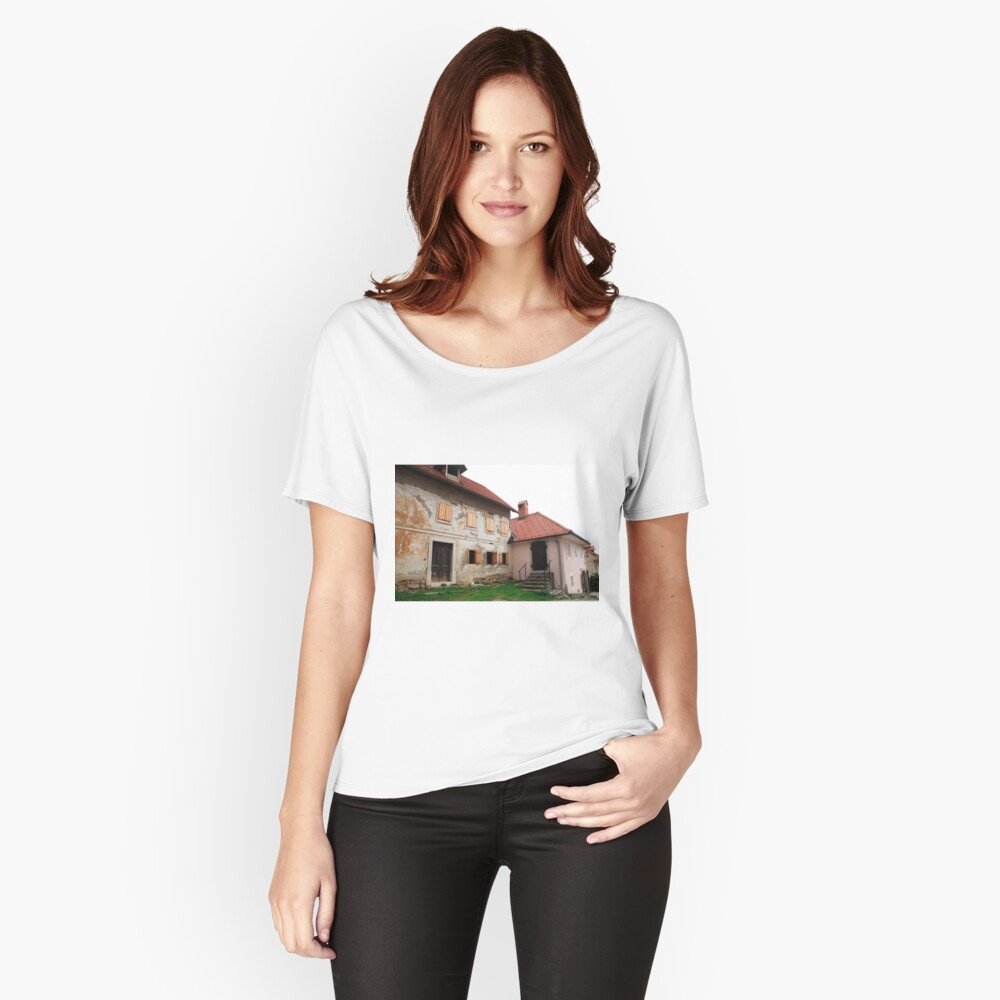 Historic Buildings in Skofja Loka Women's Relaxed Fit T-Shirt Front
