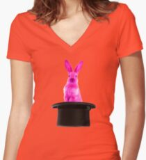 PINK RABBIT MAGIC Women's Fitted V-Neck T-Shirt