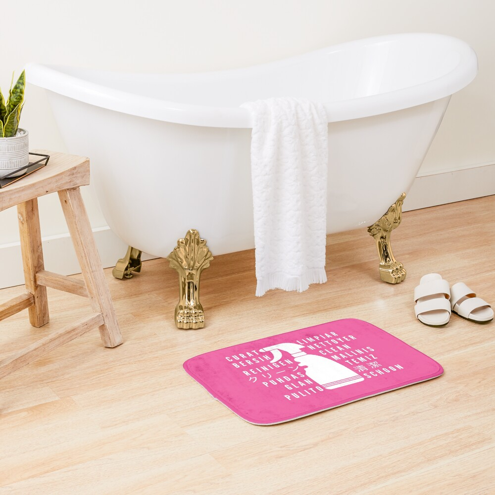 Clean in Every Language house cleaning cleaning lady gift Bath Mat