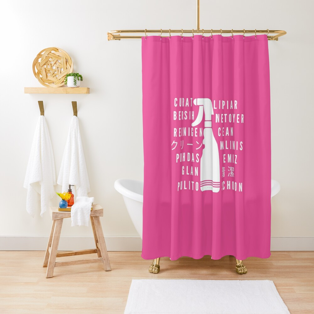 Clean in Every Language house cleaning cleaning lady gift Shower Curtain
