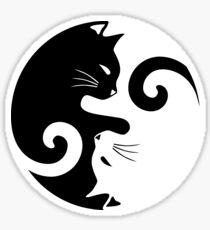 Ying Yang Cats - Black & White Sticker