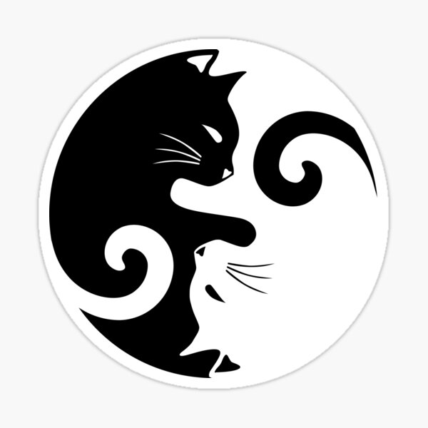 Ying Yang Cats - Black & White Sticker