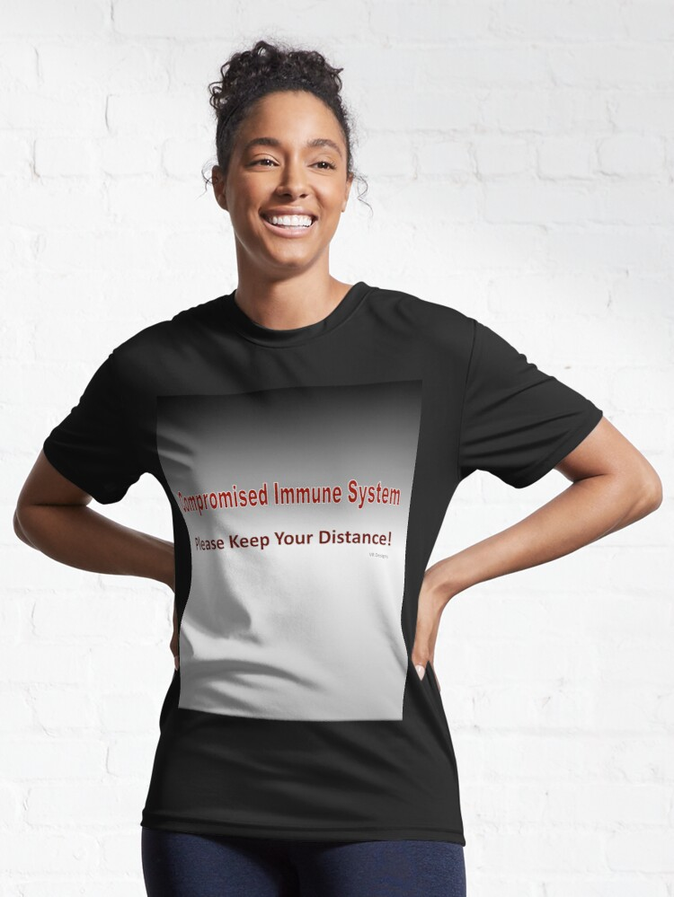 Alternate view of Text-Compromised Immune System in Grey, Red and White Active T-Shirt