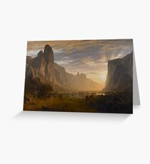 Albert Bierstadt - Looking Down Yosemite Valley, California American Landscape Greeting Card