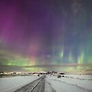 The northern lights road by Frank Olsen