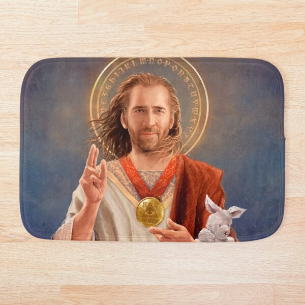 Saint Nicolas of Cage - Nic Cage Original Religious Painting Bath Mat
