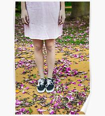 young girl in a park with purple flowers on floor Poster