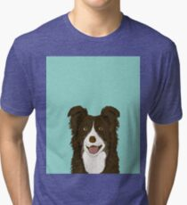 Border Collie mint pet portrait cute dog illustration chocolate brown collie down owner with border collie herding breed Tri-blend T-Shirt