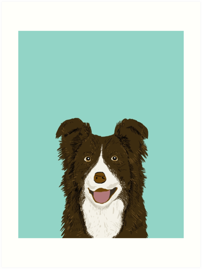 Border Collie Mint Pet Portrait Cute Dog Illustration Chocolate