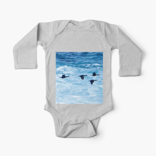 Cormorants  Skimming the Waves off Inishmore Long Sleeve Baby One-Piece