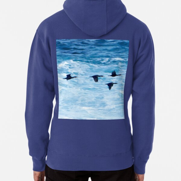Cormorants  Skimming the Waves off Inishmore Pullover Hoodie