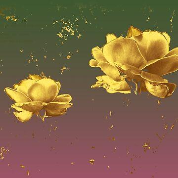 Gold leaf roses by abigailryder