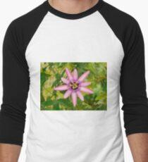 Lavender Lady Passiflora  Men's Baseball ¾ T-Shirt