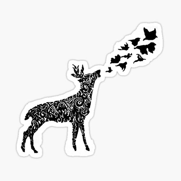 Deer & Birds Sticker