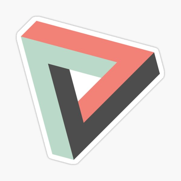 Impossible geometry Penrose triangle in retro design Sticker