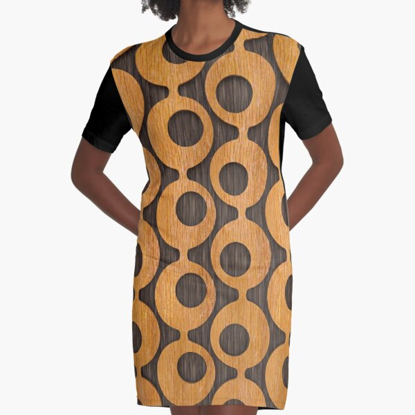 Mid-Century Wood Furniture Pattern Graphic T-Shirt Dress