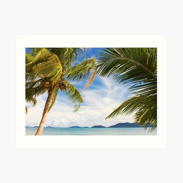 Waving palm trees on deserted tropical island Art Print