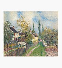 Alfred Sisley -A path at Les Sablons  French Impressionism Landscape Photographic Print