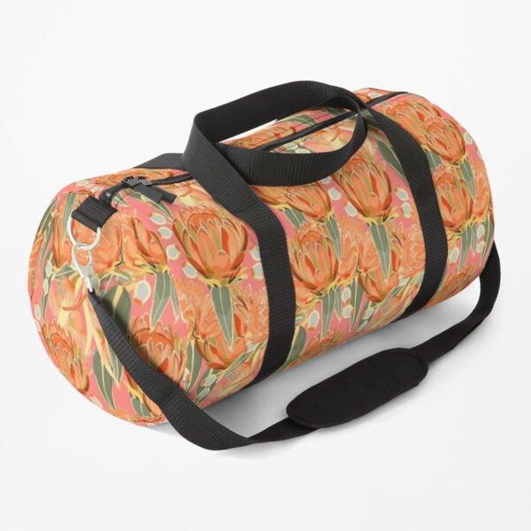 Summertime Protea & Eucalyptus Pattern - Modern Orange Palette Duffle Bag