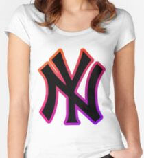NY Fade Outline Women's Fitted Scoop T-Shirt