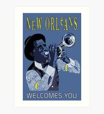 New Orleans welcomes you, retro travel ad, jazz trumpet player Art Print