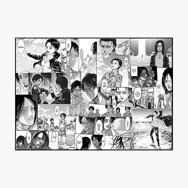 Attack on Titan Eren Yeager Manga Collage  Photographic Print