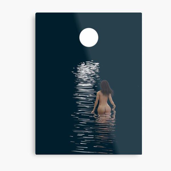 young woman bathes in dark water Metal Print