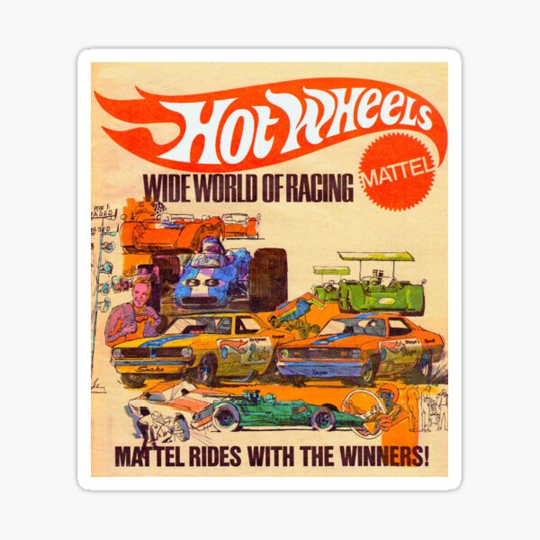 Hot Wheels Vintage Wide World of Racing Poster  Sticker