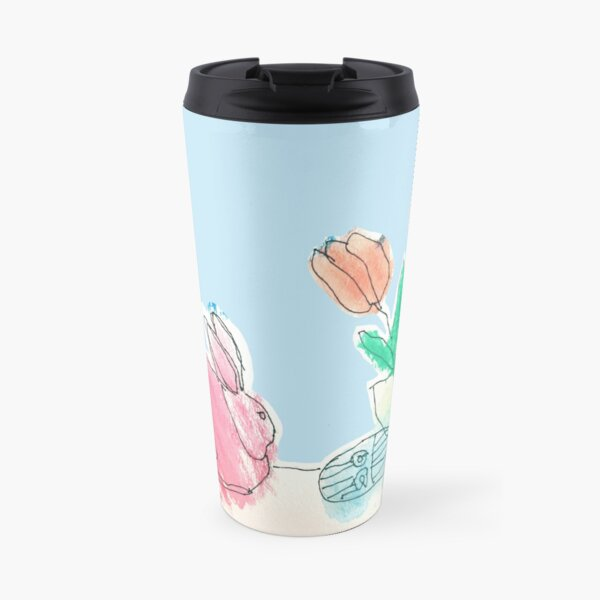Pink Rabbit With Spring Tulips and Easter Eggs Travel Mug