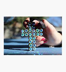 Sparkly Blue Cross Photographic Print