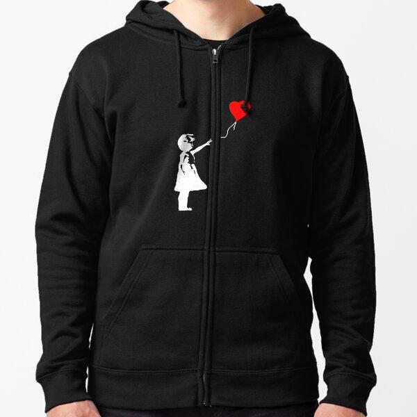 Banksy niña globo Sudadera con capucha y cremallera