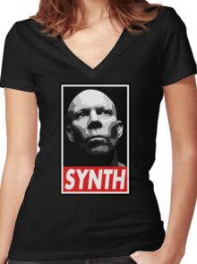 VINCE CLARKE, SYNTH - OBEY Inspired Design Women's Fitted V-Neck T-Shirt