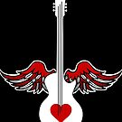Flying Guitar with Heart by WaywardMuse