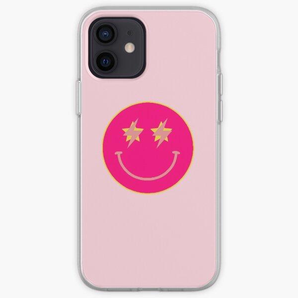 hot pink star lightning smiley  iPhone Soft Case