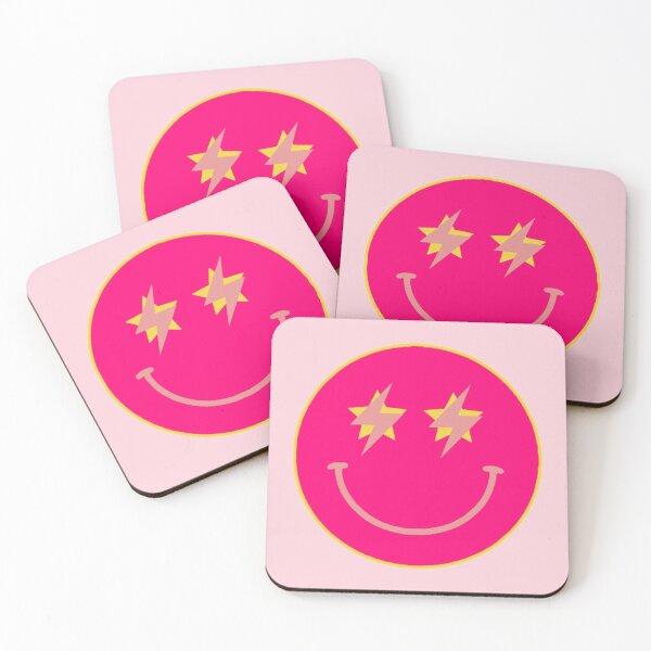 hot pink star lightning smiley  Coasters (Set of 4)