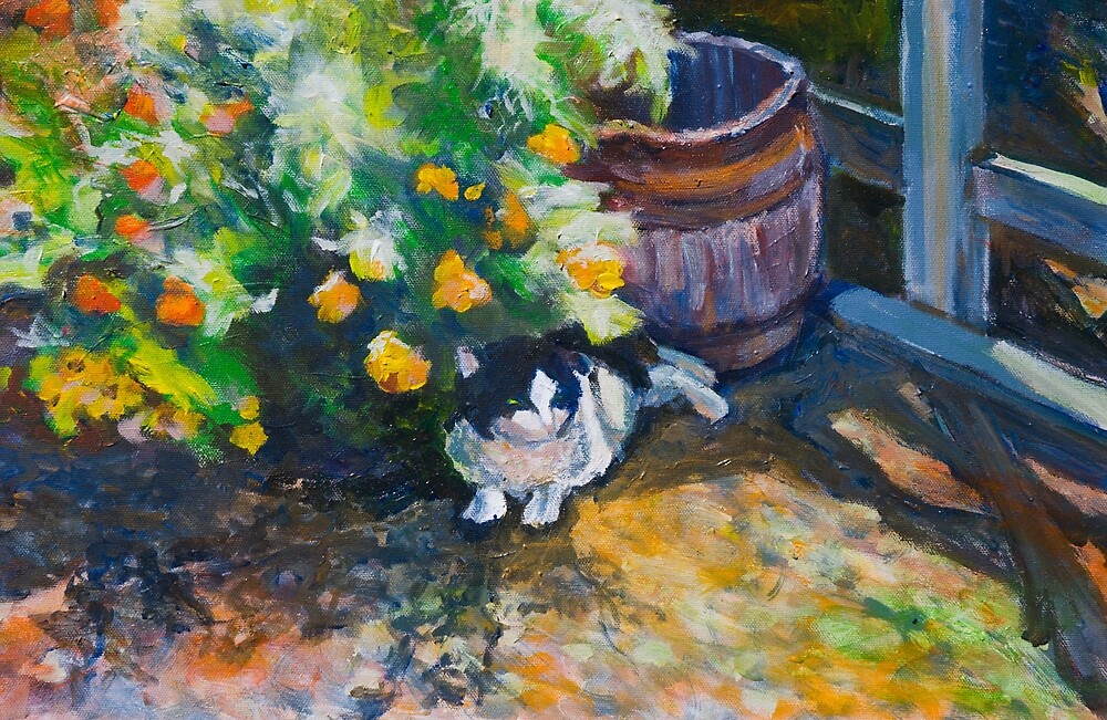 Cat in the Garden by Linda J Armstrong
