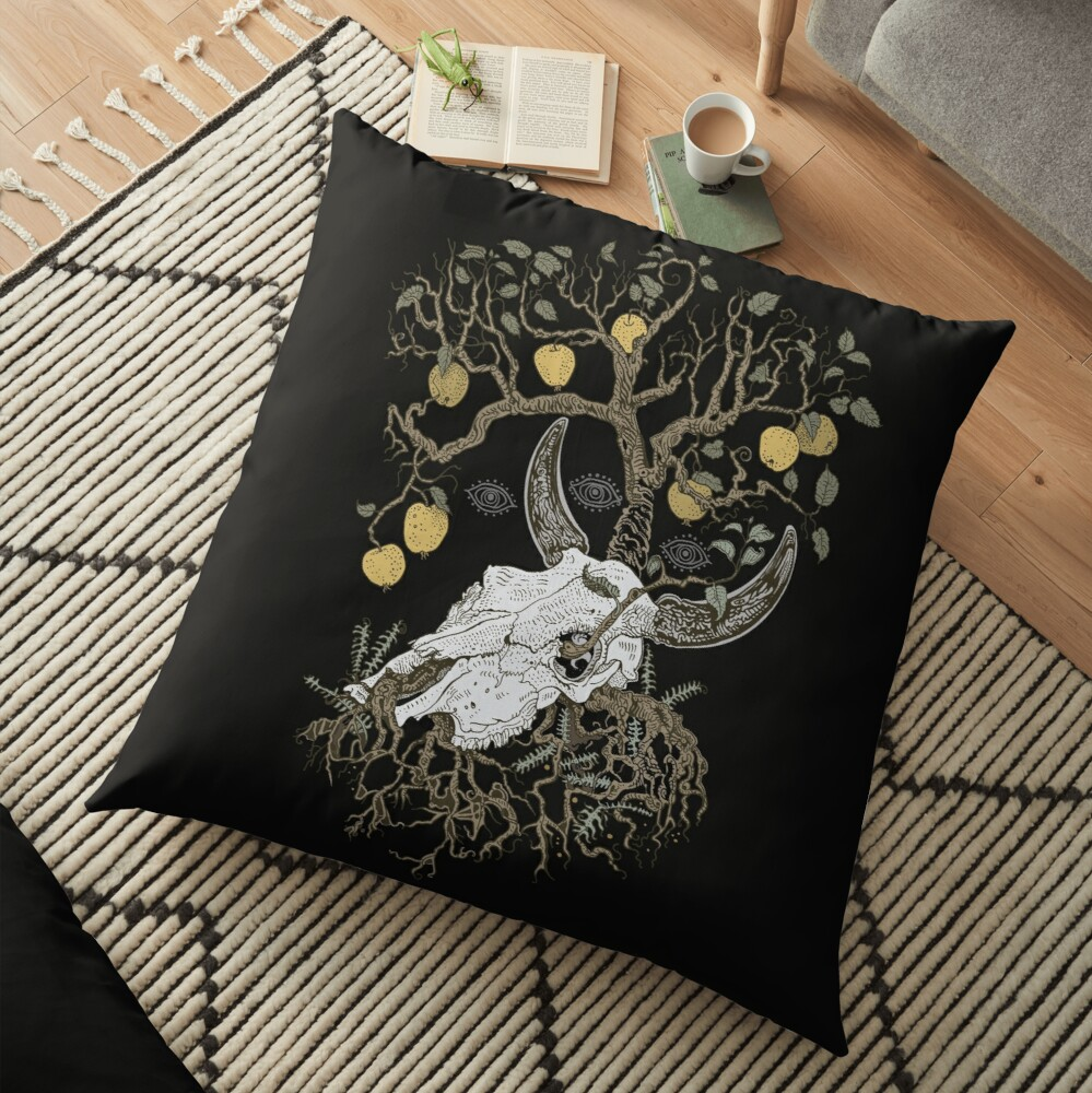 Cow skull and apple tree Floor Pillow