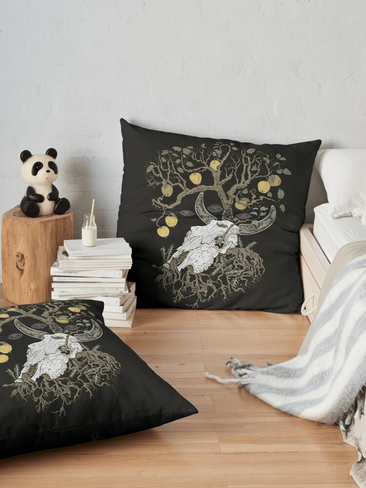 Alternate view of Cow skull and apple tree Floor Pillow