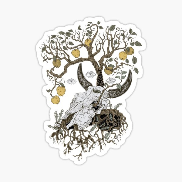 Cow skull and apple tree Sticker