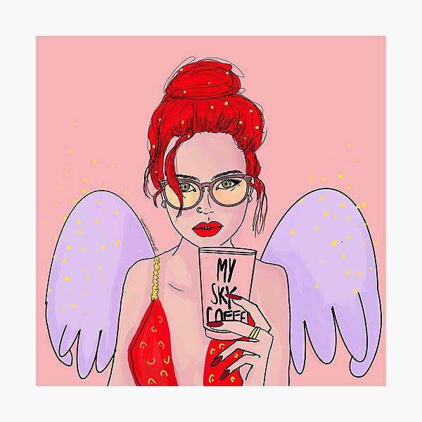 Angel with Coffe Lámina fotográfica
