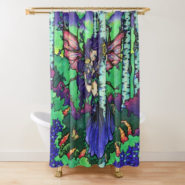 Woodland Fairy in Nature Scene Fantasy Art by Hannah Lynn Shower Curtain