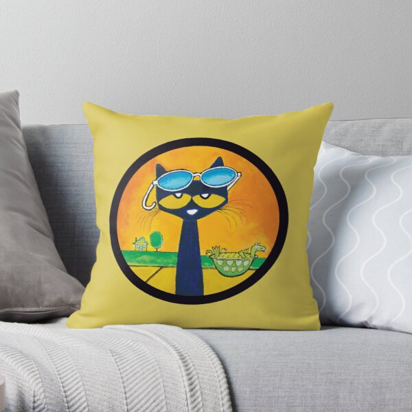 Pete the cat chiling Throw Pillow