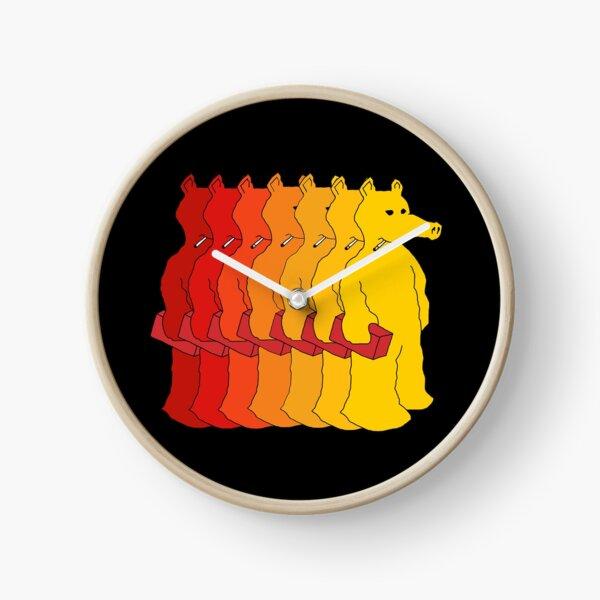 quasimoto red, orange and yellow Clock