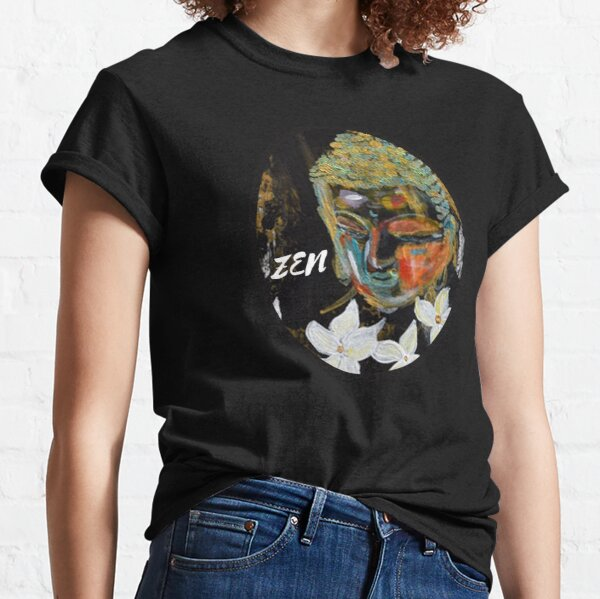 Buddha Zen Girl Black Abstract Art White Lillies  By Concetta Ellis Classic T-Shirt