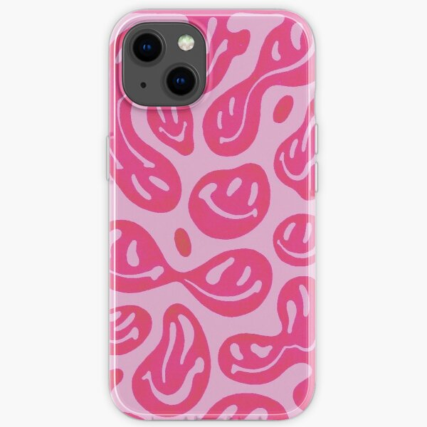 Hot Pink Melted Smiley Face Psychedelic Pattern  iPhone Soft Case